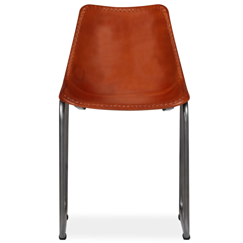 Dining Chairs 2 pcs Brown Real Leather 6