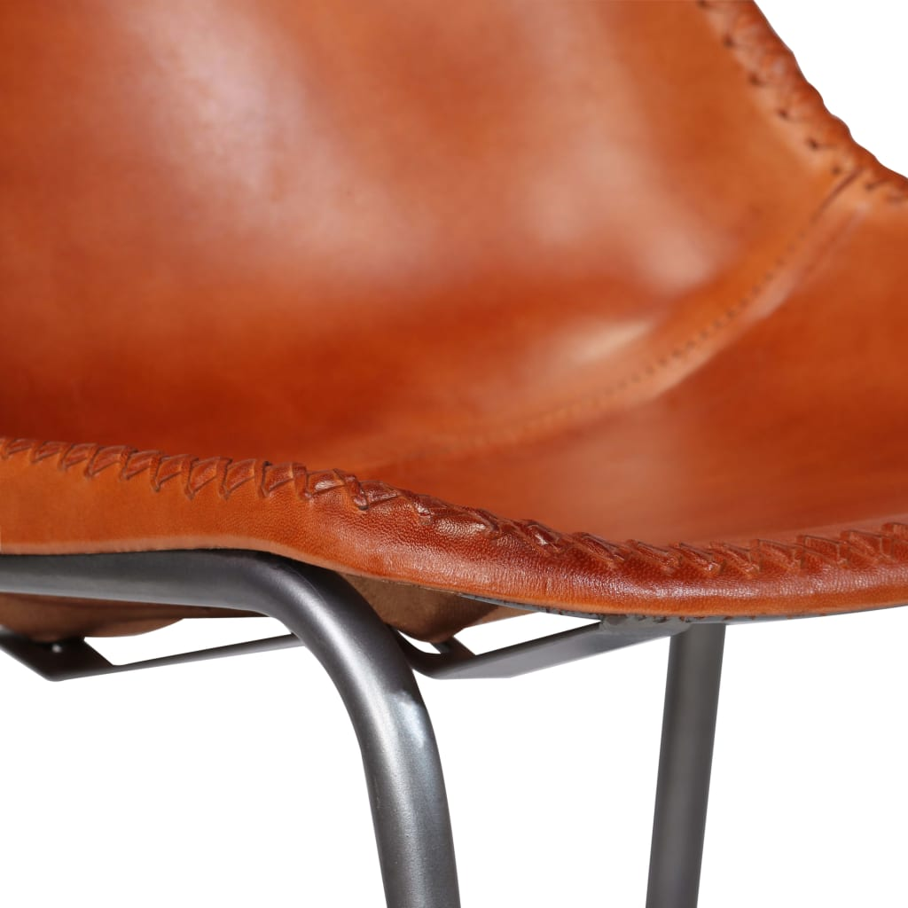 Dining Chairs 2 pcs Brown Real Leather 8
