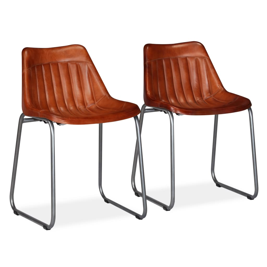 Dining Chairs 2 pcs Brown Real Leather