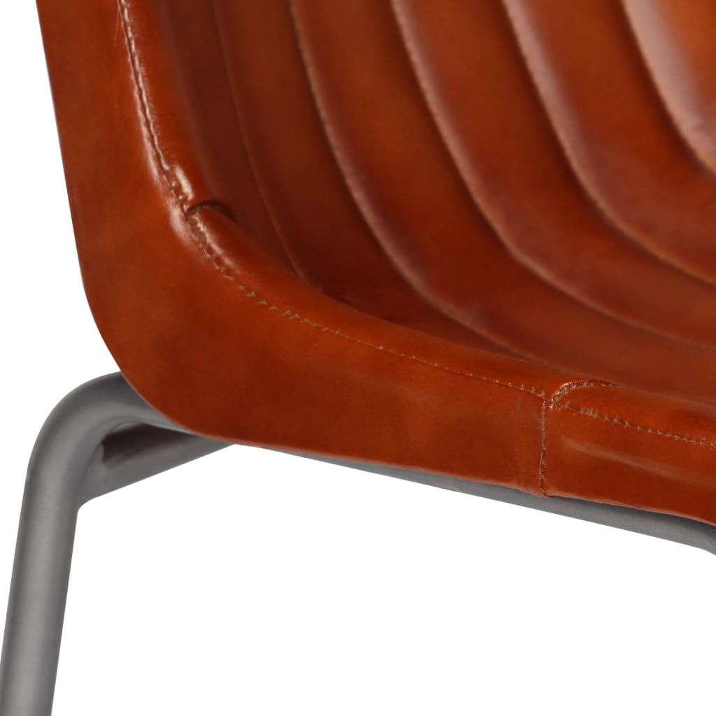 Dining Chairs 2 pcs Brown Real Leather 11