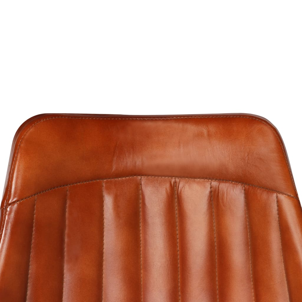 Dining Chairs 2 pcs Brown Real Leather 9