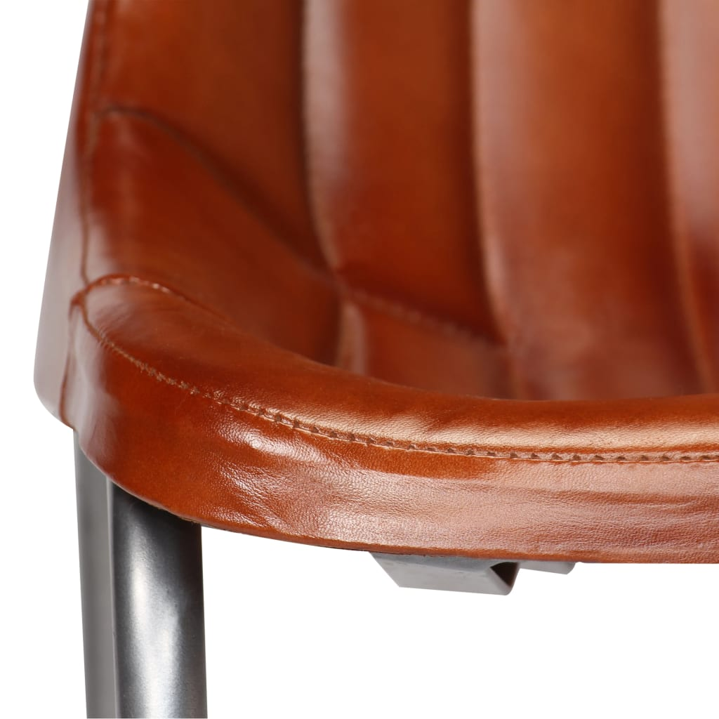 Dining Chairs 2 pcs Brown Real Leather 10