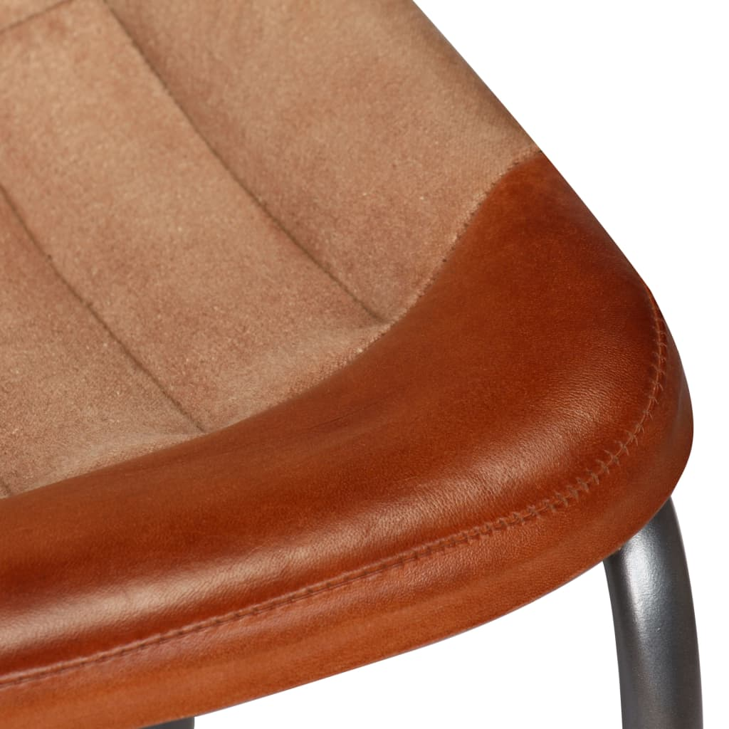 Dining Chairs 2 pcs Brown and Beige Real Leather and Canvas 11