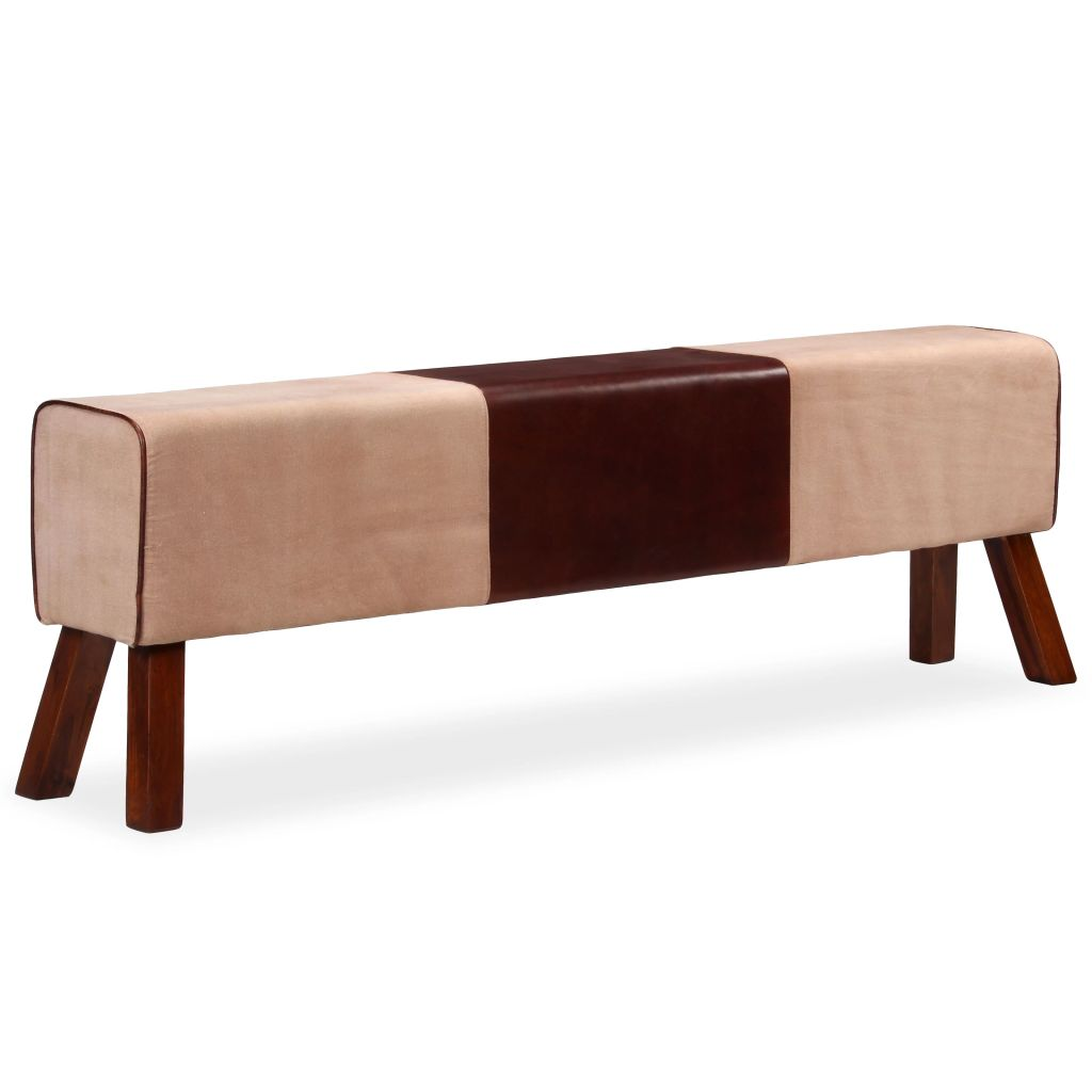 Bench Genuine Leather and Canvas Beige and Brown 160x28x50 cm 1