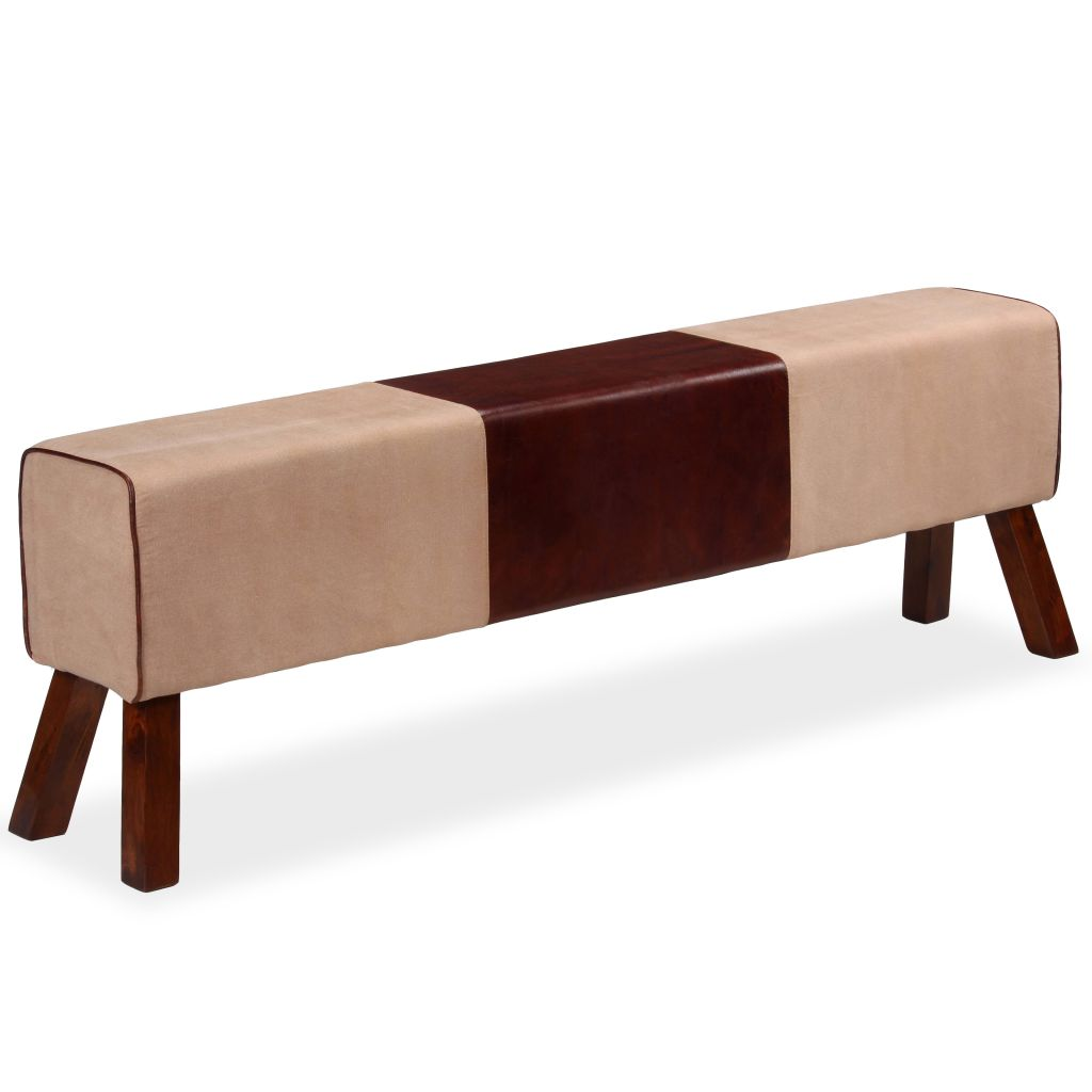 Bench Genuine Leather and Canvas Beige and Brown 160x28x50 cm 4