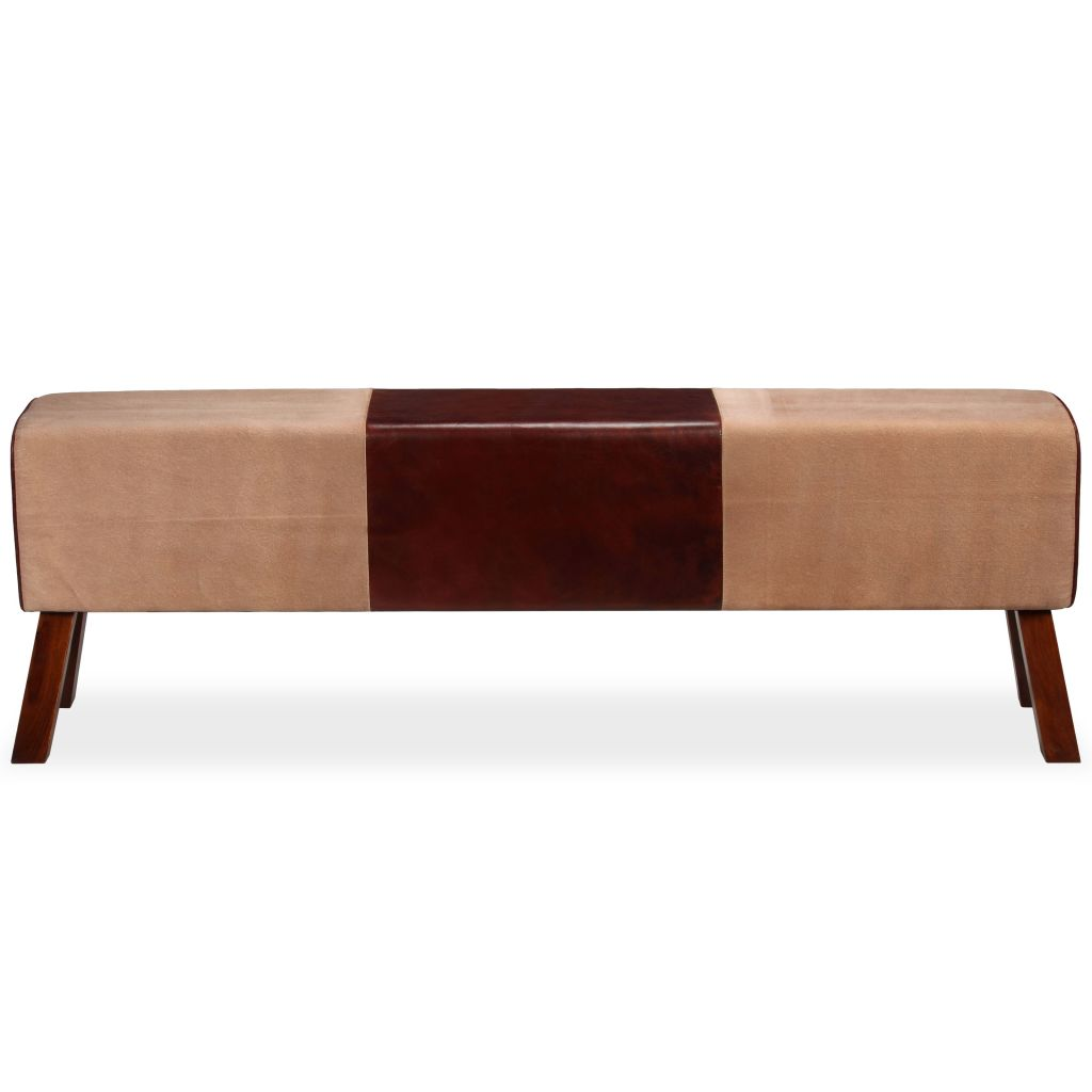 Bench Genuine Leather and Canvas Beige and Brown 160x28x50 cm 5