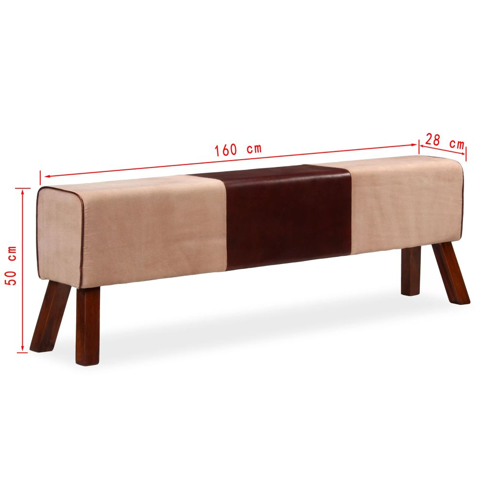 Bench Genuine Leather and Canvas Beige and Brown 160x28x50 cm 7