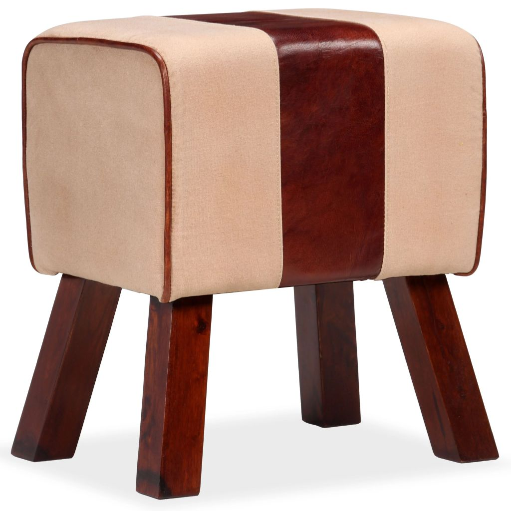 Bench Genuine Leather and Canvas Beige and Brown 40x30x45 cm 1