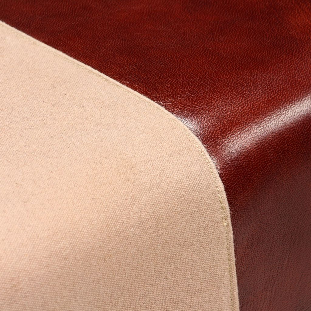 Bench Genuine Leather and Canvas Beige and Brown 40x30x45 cm 2