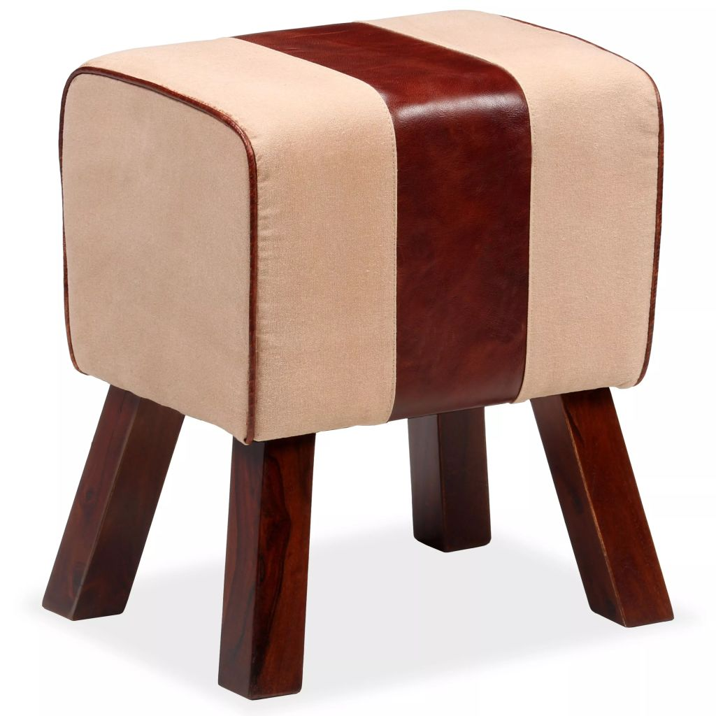 Bench Genuine Leather and Canvas Beige and Brown 40x30x45 cm 3