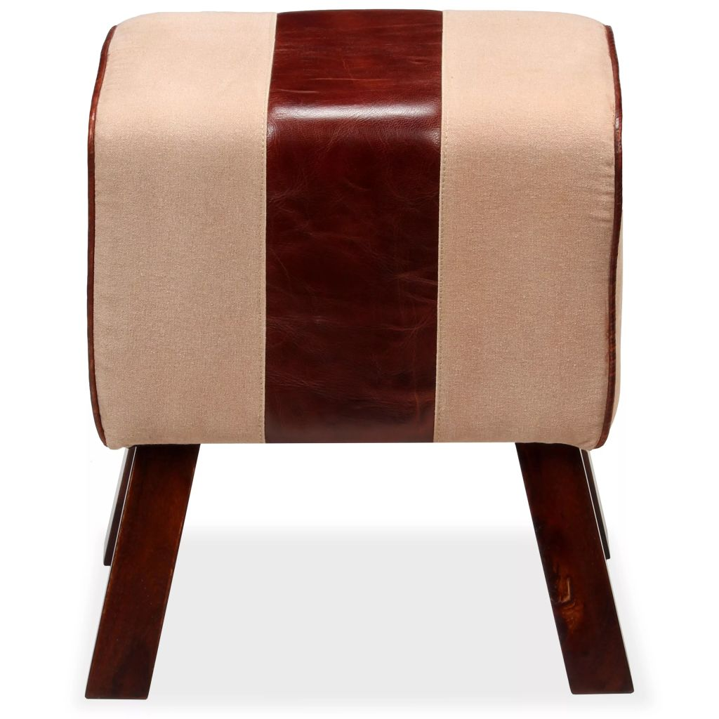 Bench Genuine Leather and Canvas Beige and Brown 40x30x45 cm 4