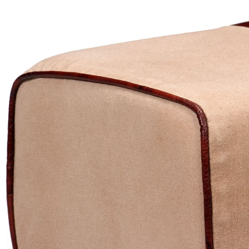 Bench Genuine Leather and Canvas Beige and Brown 40x30x45 cm 5