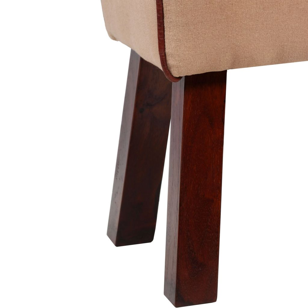 Bench Genuine Leather and Canvas Beige and Brown 40x30x45 cm 6