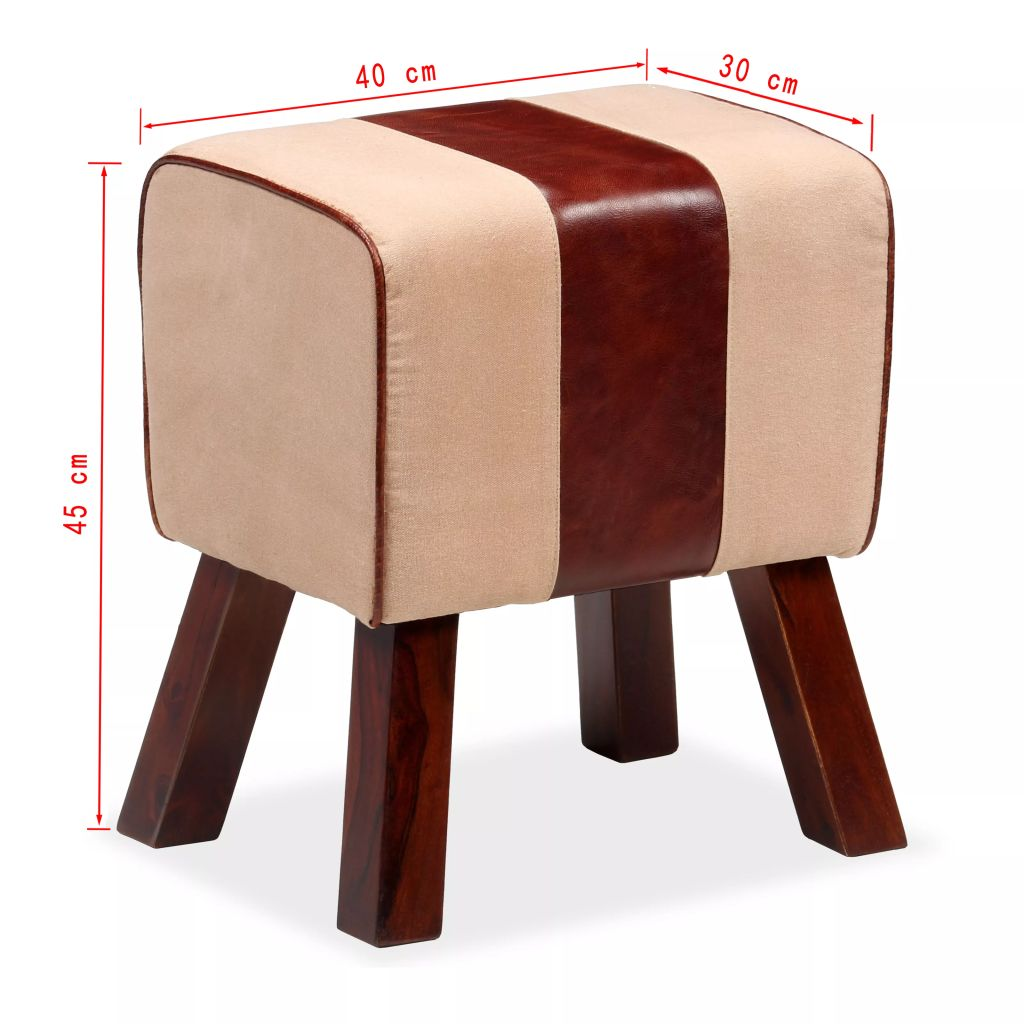 Bench Genuine Leather and Canvas Beige and Brown 40x30x45 cm 7