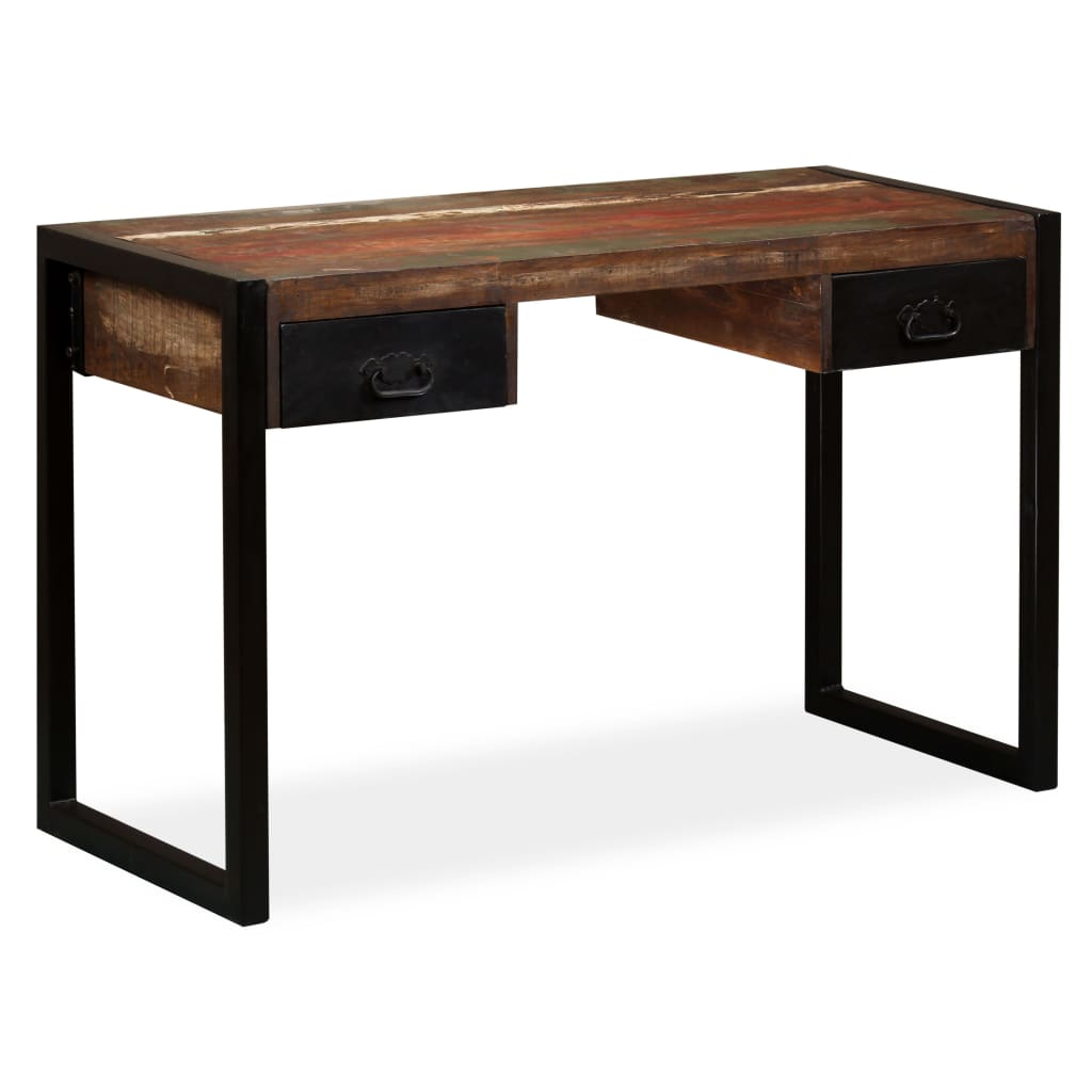 Desk with 2 Drawers Solid Reclaimed Wood 120x50x76 cm 1