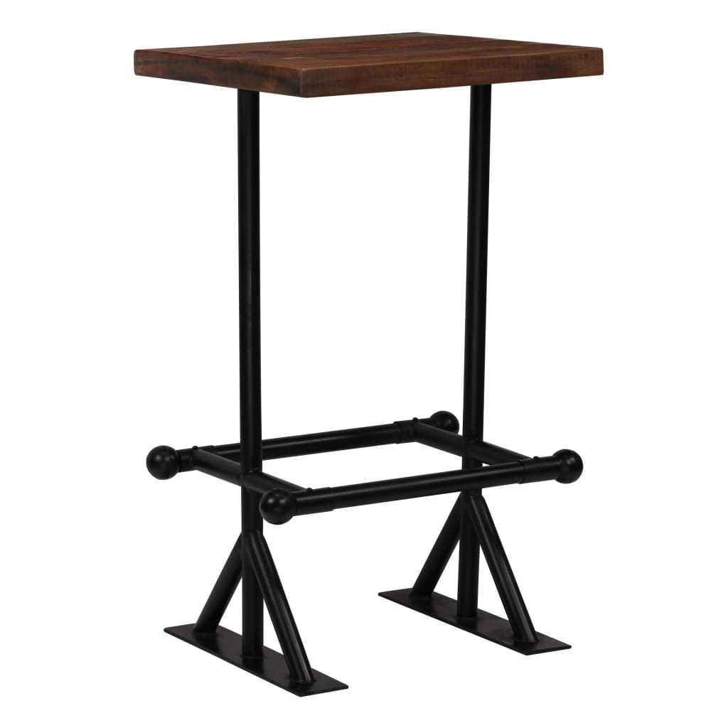 Bar Table Solid Reclaimed Wood Dark Brown 60x60x107 cm