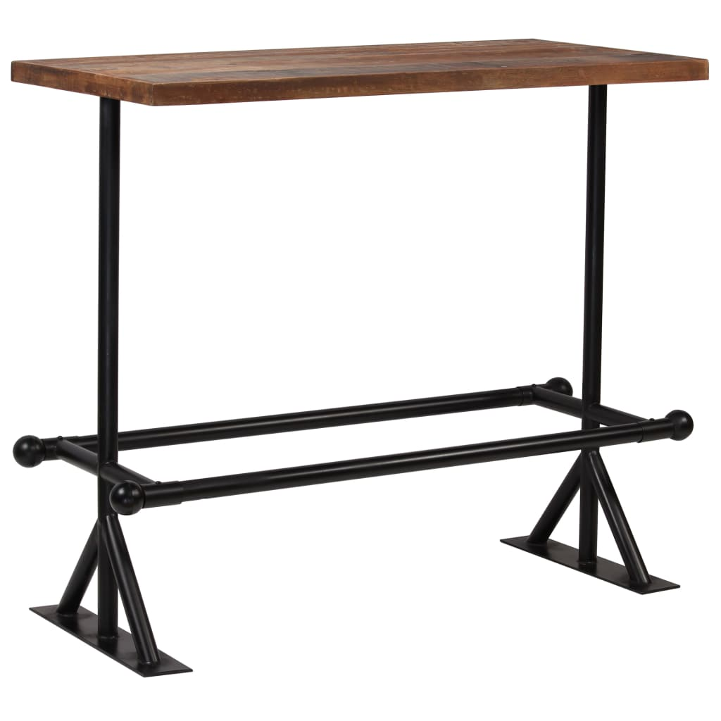 Bar Table Solid Reclaimed Wood Dark Brown 120x60x107 cm 1