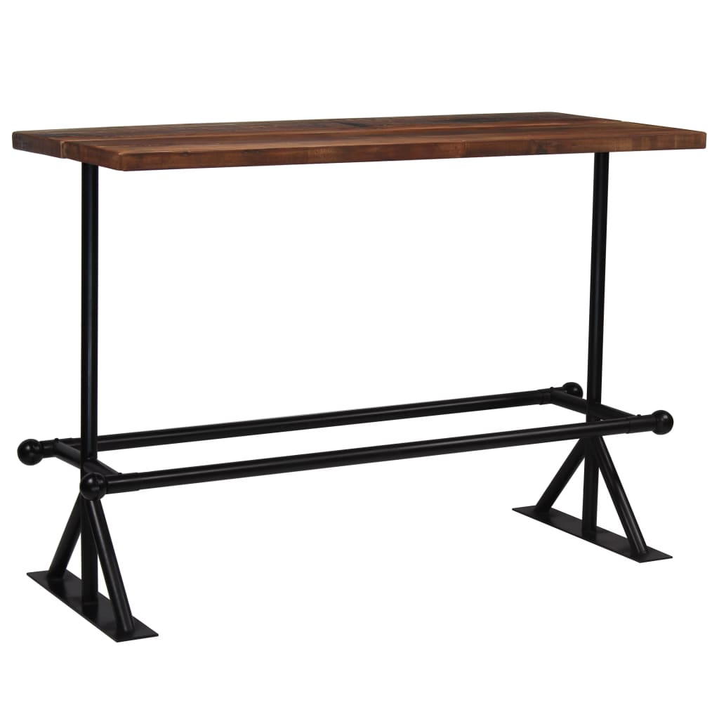 Bar Table Solid Reclaimed Wood Dark Brown 150x70x107 cm 1