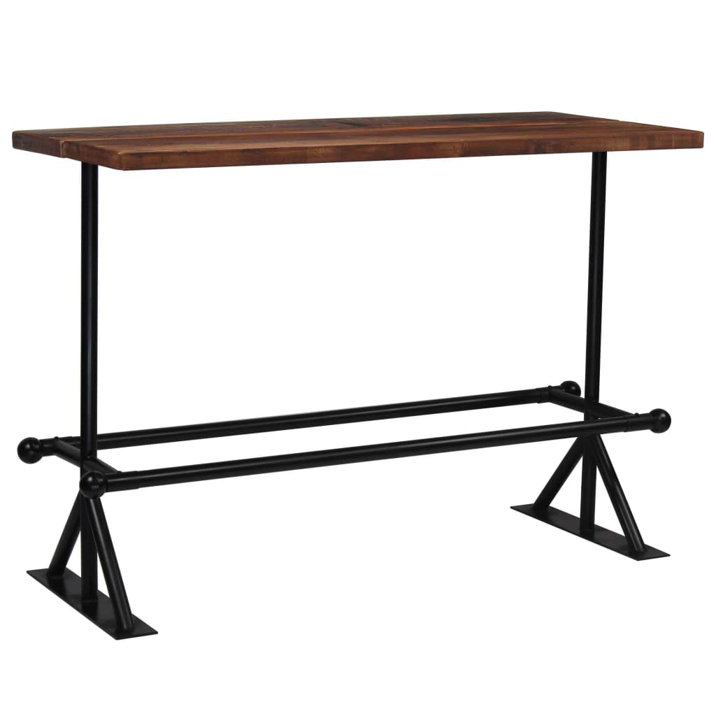Bar Table Solid Reclaimed Wood Dark Brown 150x70x107 cm 11