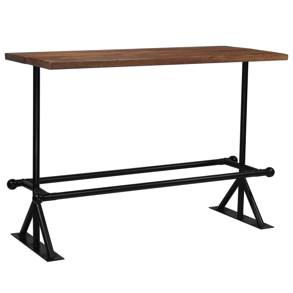 Bar Table Solid Reclaimed Wood Dark Brown 150x70x107 cm 8