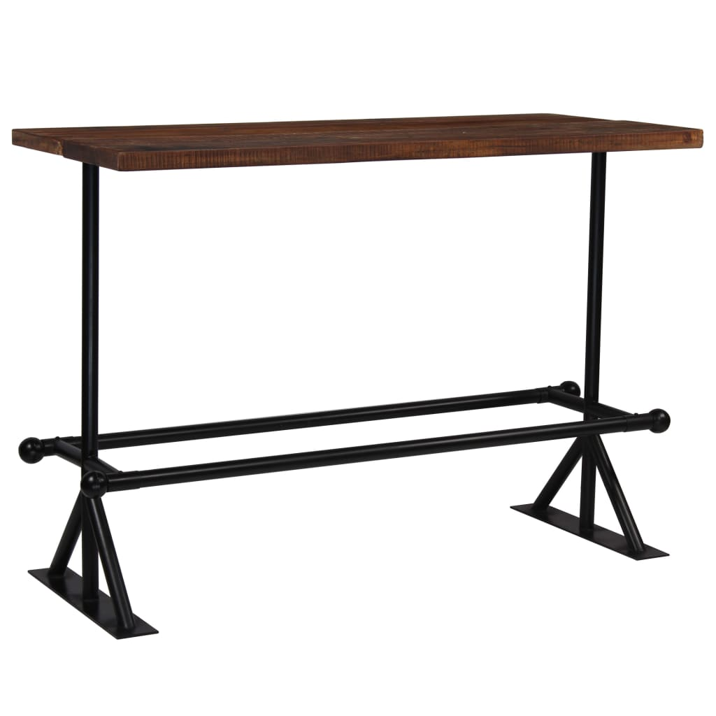 Bar Table Solid Reclaimed Wood Dark Brown 150x70x107 cm 9