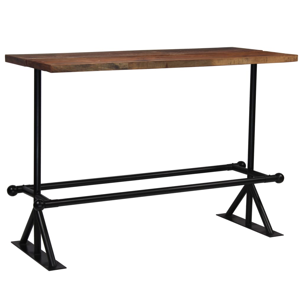Bar Table Solid Reclaimed Wood Dark Brown 150x70x107 cm 10