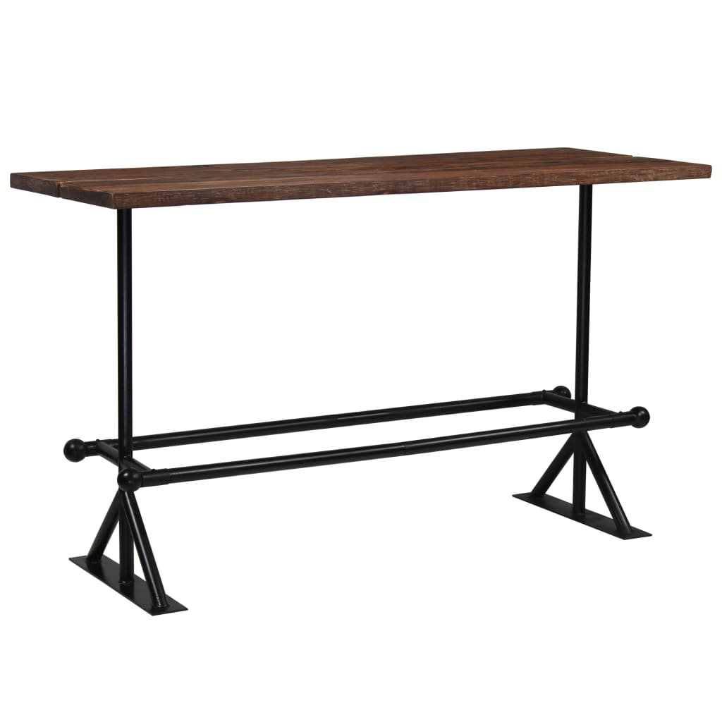 Bar Table Solid Reclaimed Wood Dark Brown 180x70x107 cm