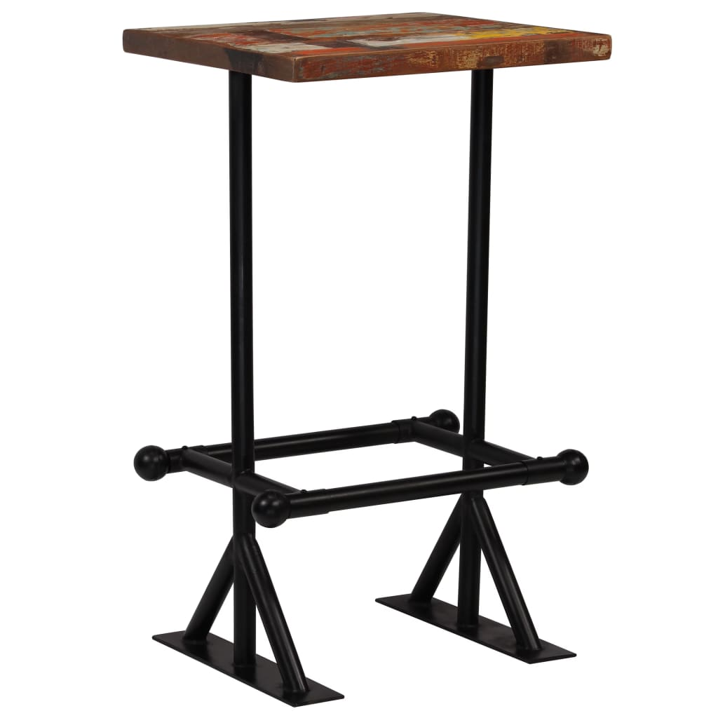 Bar Table Solid Reclaimed Wood Multicolour 60x60x107 cm