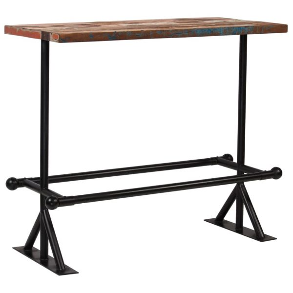 Bar Table Solid Reclaimed Wood Multicolour 120x60x107 cm 1