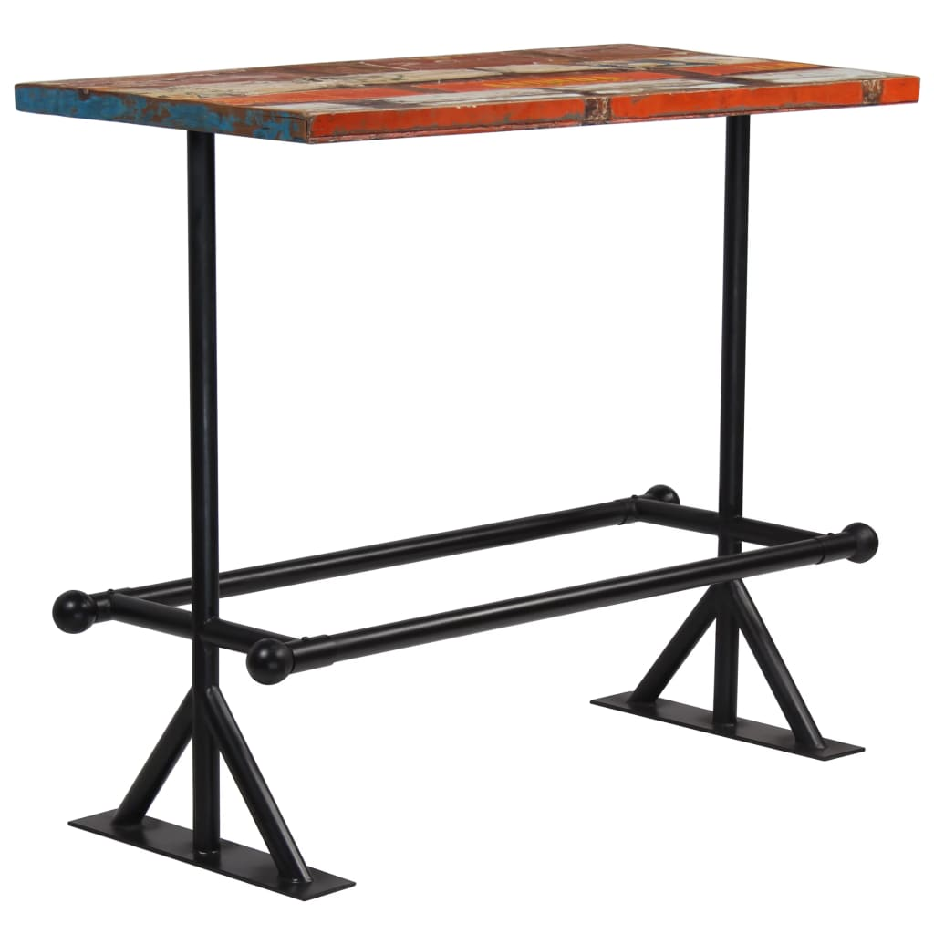 Bar Table Solid Reclaimed Wood Multicolour 120x60x107 cm 7