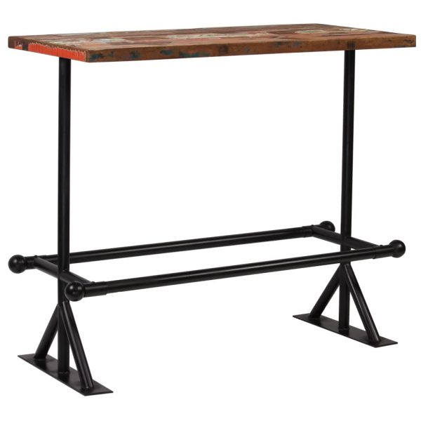 Bar Table Solid Reclaimed Wood Multicolour 120x60x107 cm 8