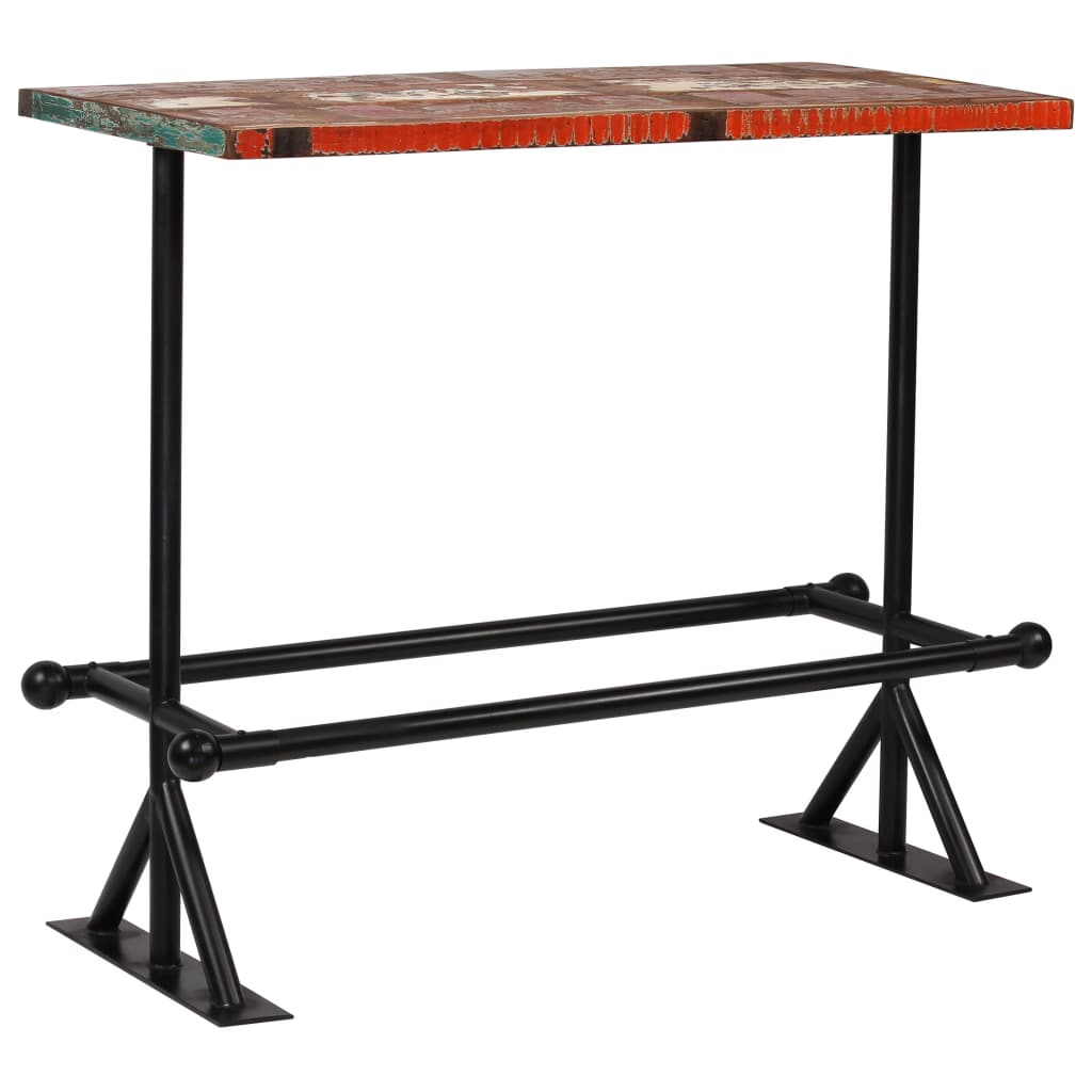 Bar Table Solid Reclaimed Wood Multicolour 120x60x107 cm 9