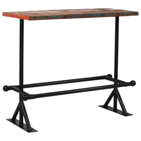 Bar Table Solid Reclaimed Wood Multicolour 120x60x107 cm 10