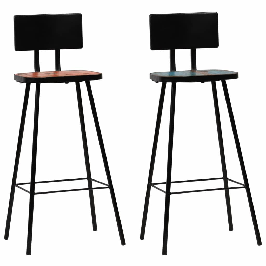 Bar Chairs 2 pcs Solid Reclaimed Wood