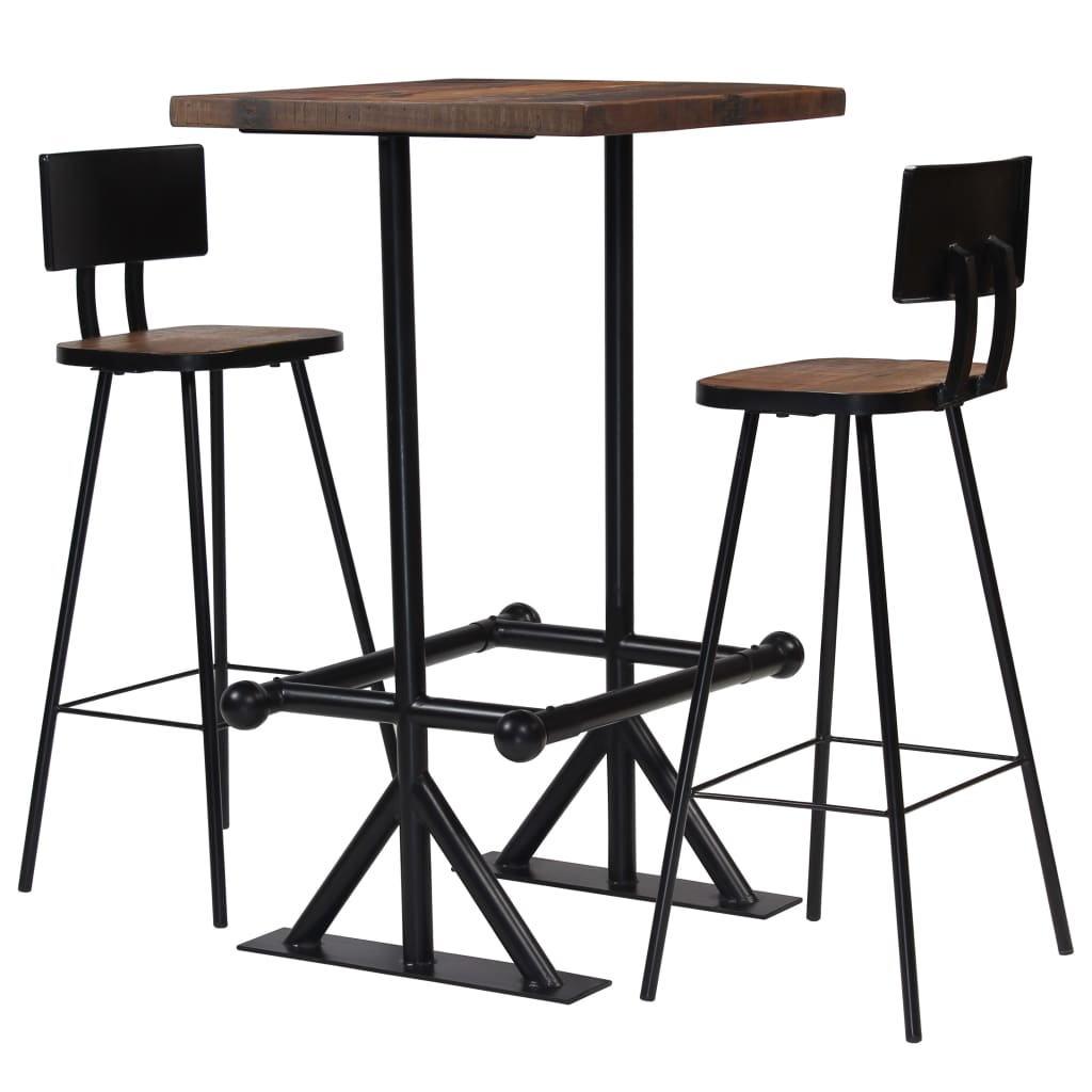 Bar Set 3 Piece Solid Reclaimed Wood 1