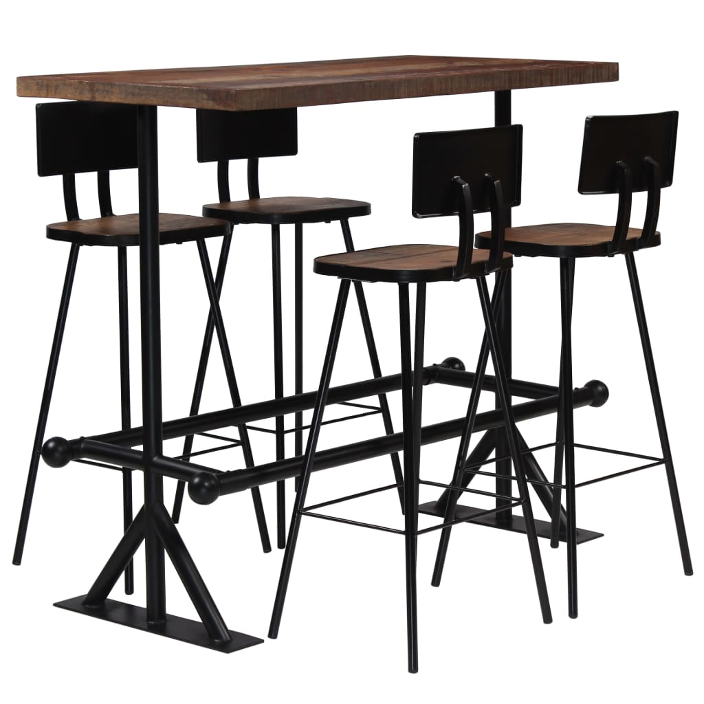 Bar Set 5 Piece Solid Reclaimed Wood 1