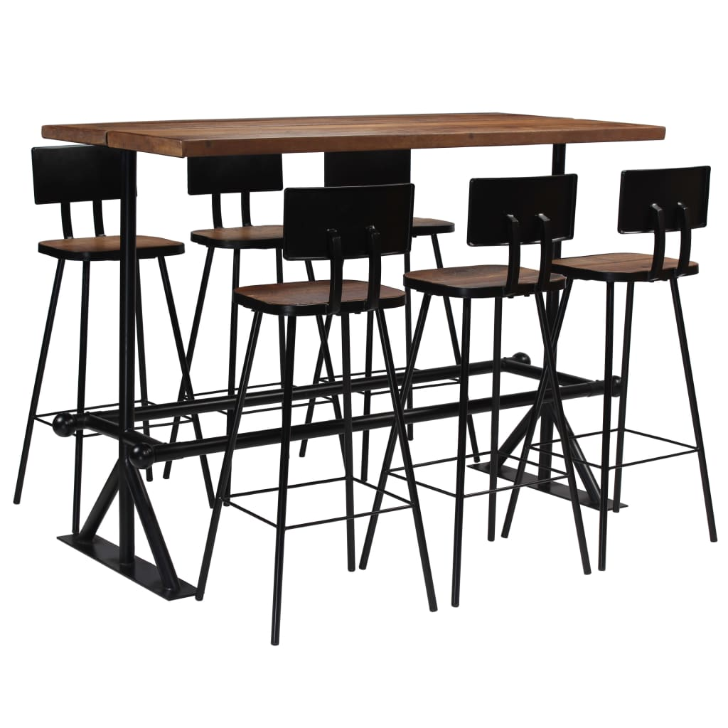 Bar Set 7 Piece Solid Reclaimed Wood 1