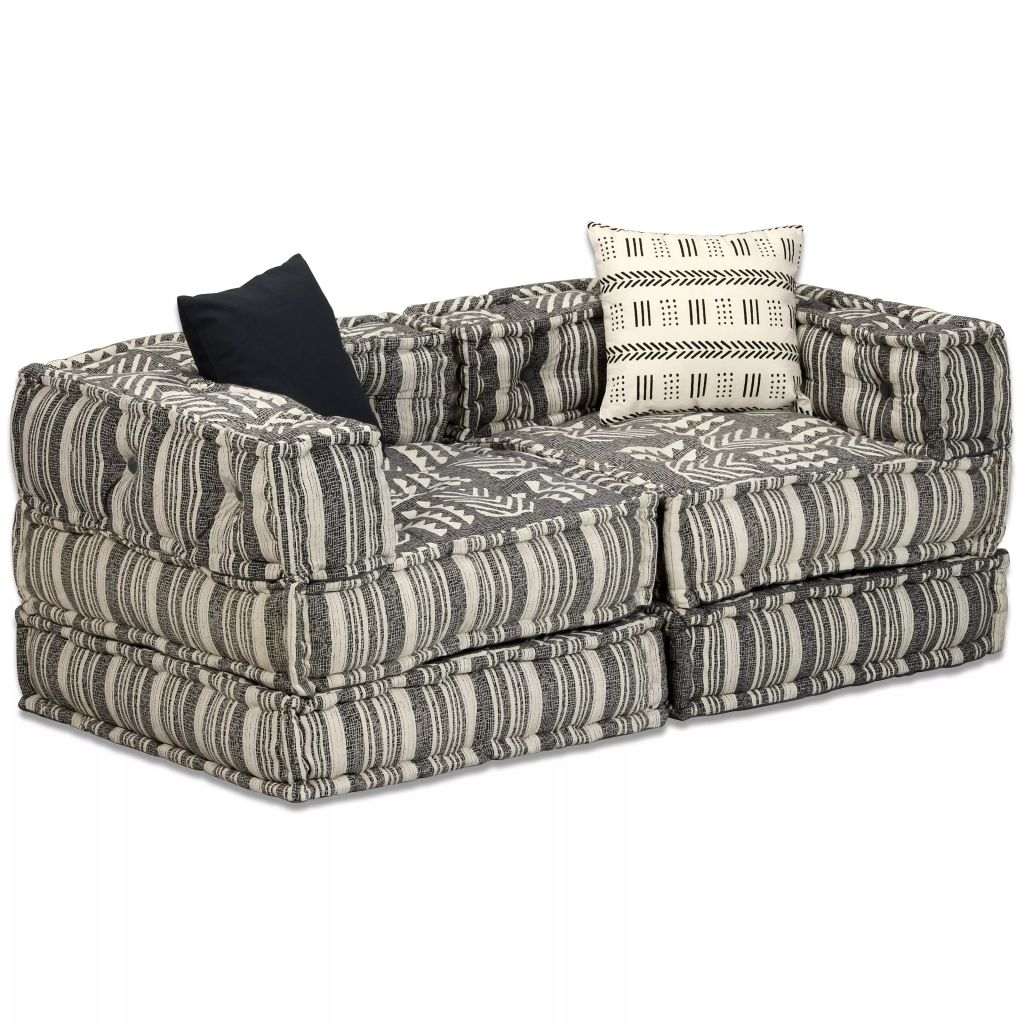 2-Seater Modular Sofa Bed Fabric Stripe 1