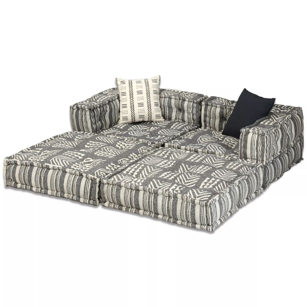 2-Seater Modular Sofa Bed Fabric Stripe 2