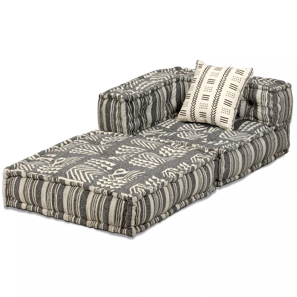 2-Seater Modular Sofa Bed Fabric Stripe 4