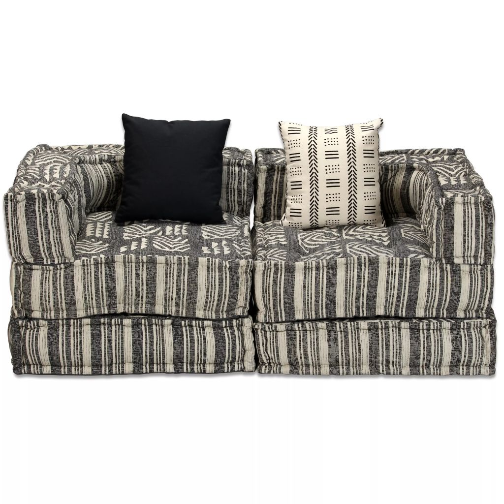 2-Seater Modular Sofa Bed Fabric Stripe 5