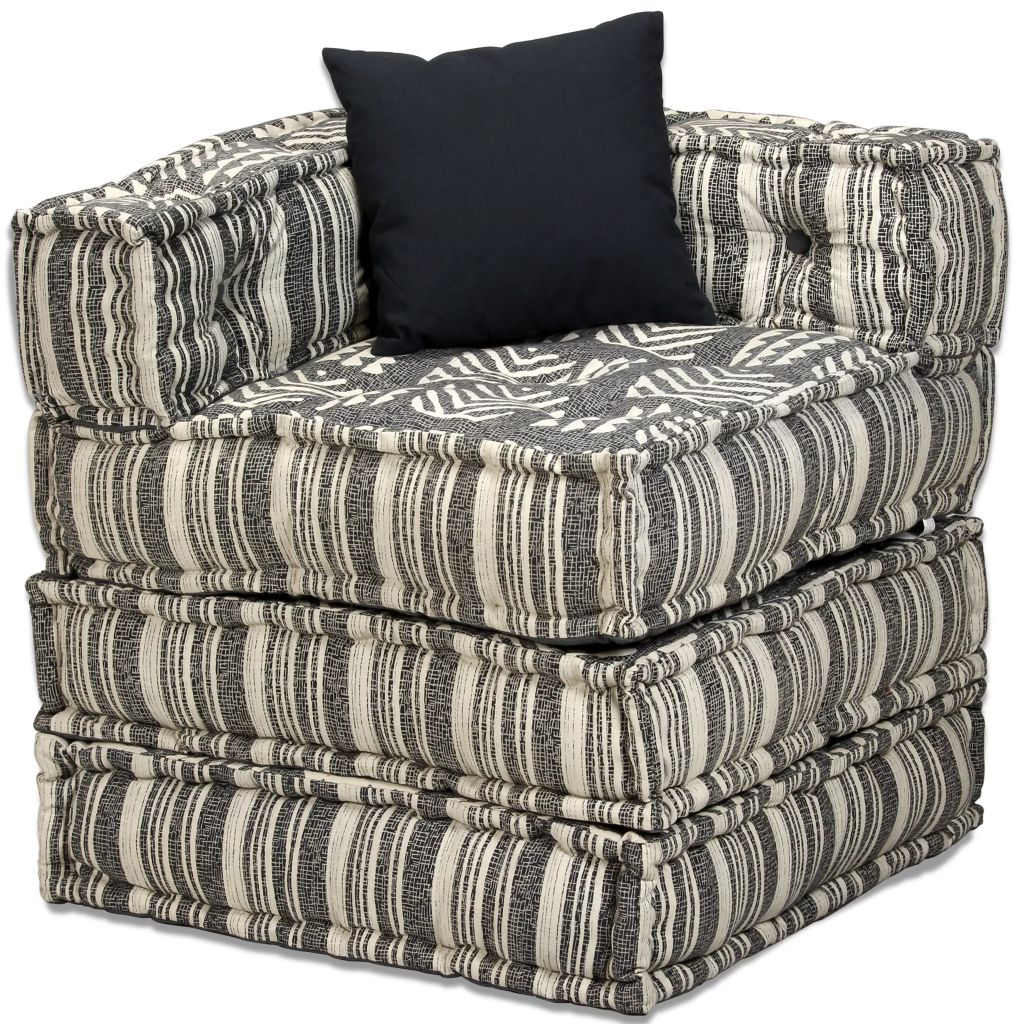 2-Seater Modular Sofa Bed Fabric Stripe 6