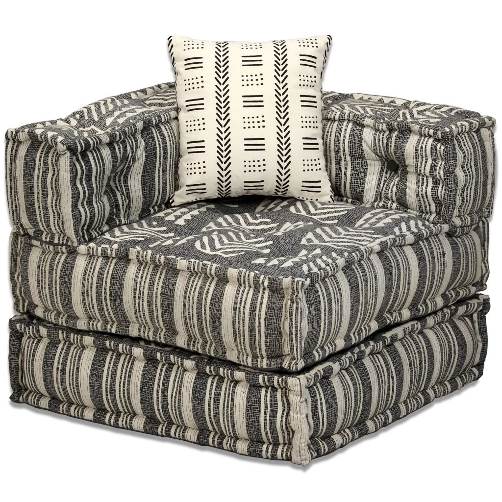2-Seater Modular Sofa Bed Fabric Stripe 7