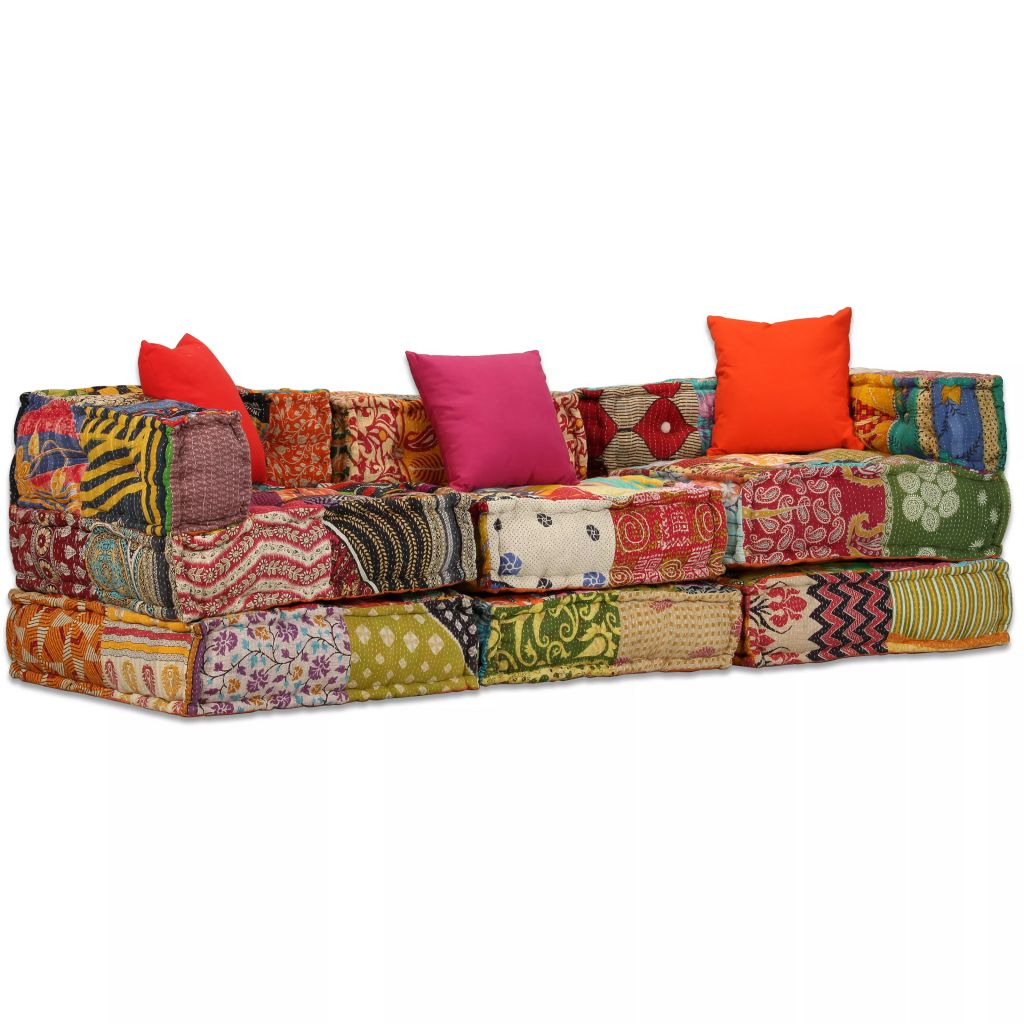 3-Seater Modular Sofa Bed Fabric Patchwork