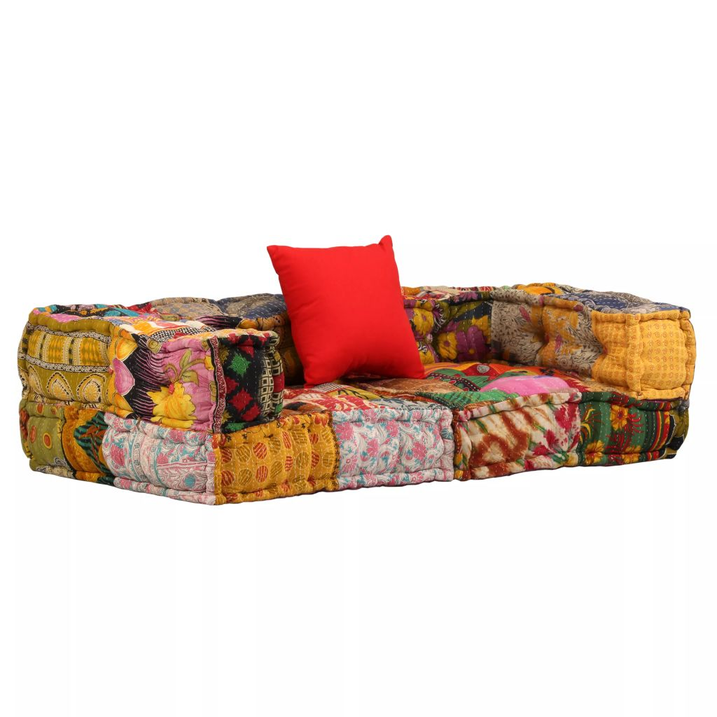 2-Seater Modular Sofa with Armrests Fabric Patchwork 1