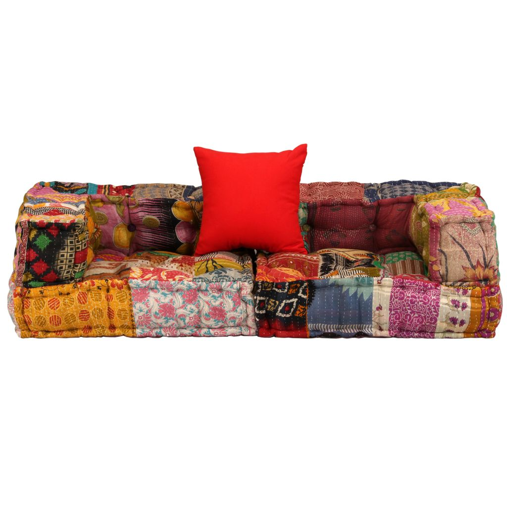 2-Seater Modular Sofa with Armrests Fabric Patchwork 3
