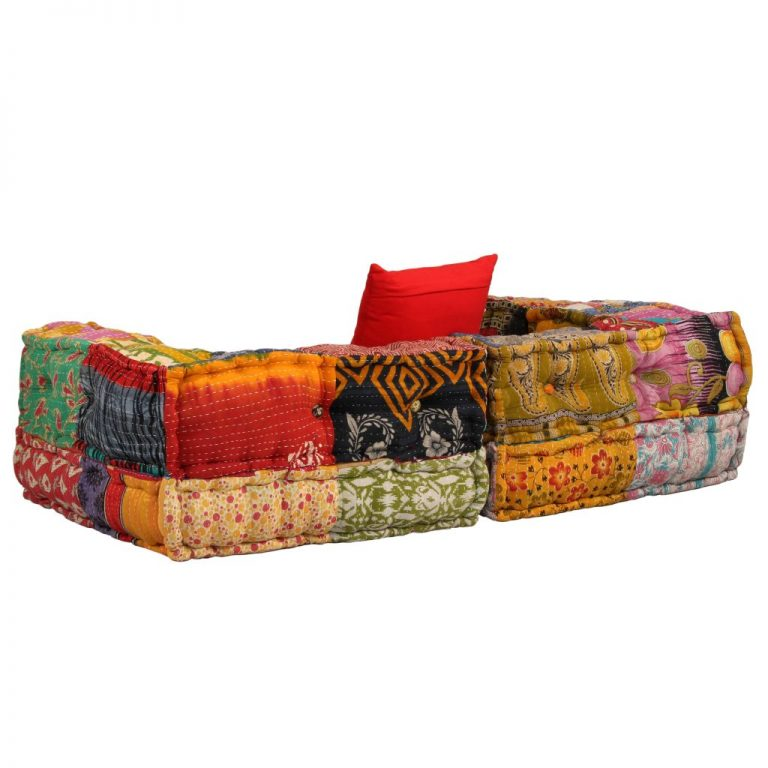 2-Seater Modular Sofa with Armrests Fabric Patchwork 4