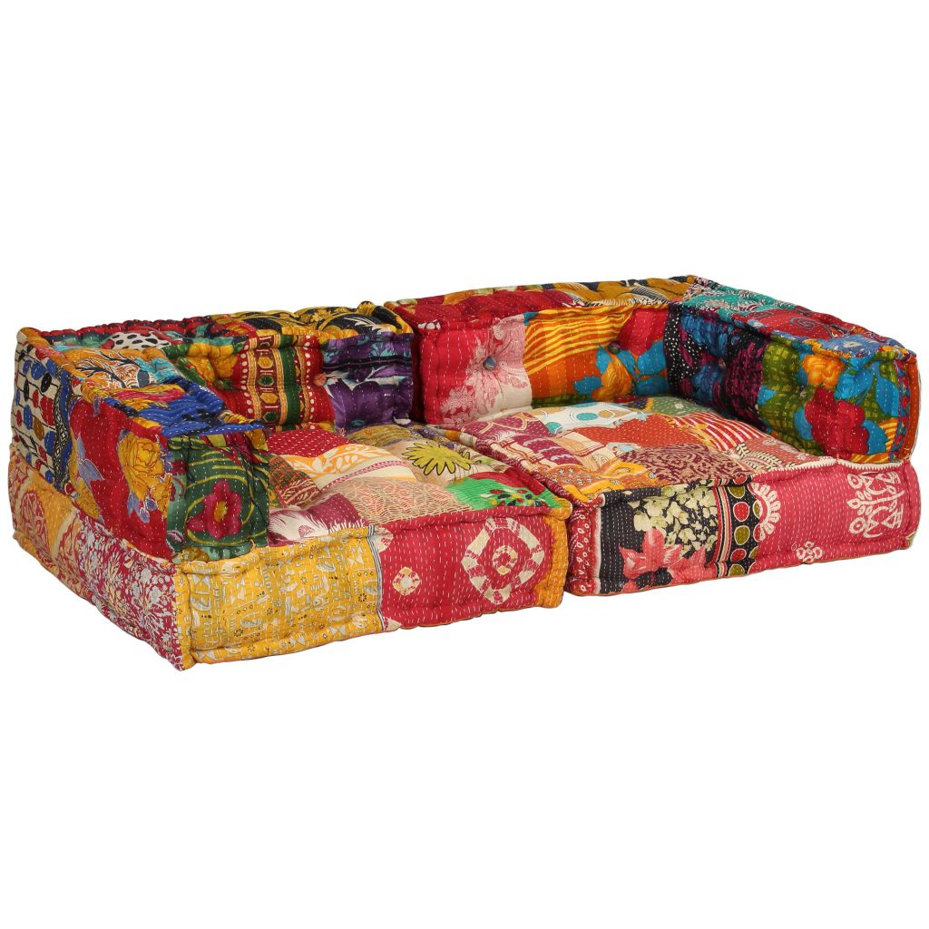2-Seater Modular Sofa with Armrests Fabric Patchwork 5