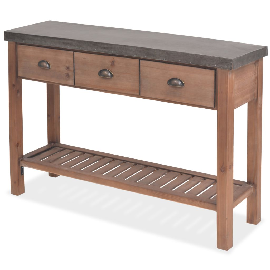 Console Table Solid Fir Wood 122x35x80 cm 2