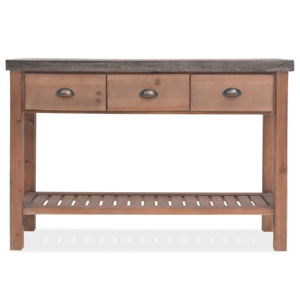 Console Table Solid Fir Wood 122x35x80 cm 3